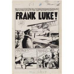 George Evans original artwork for Front Line Combat #13 original 7-page story 'Frank Luke!'.