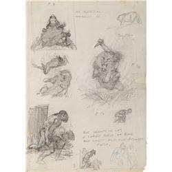 Frank Frazetta original sketches for Canaveral plates.