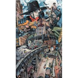 Michael Kaluta monumental original painting 'The Shadow Knows'.