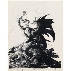 Michael Kaluta original pin-up artwork for Batman vs. Predator.