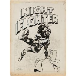 Jack Kirby original cover artwork for the unrealized comic Night Fighter.