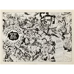 Jack Kirby and Mike Royer original double page splash artwork for Super Powers.
