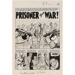 Harvey Kurtzman original artwork for Frontline Combat #3 complete 6-page story 'Prisoner of War!'