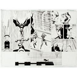 Jim Lee and Scott Williams original double page splash artwork for Batman #611.