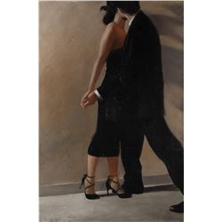 Jon J. Muth original large-scale dancing couple painting.