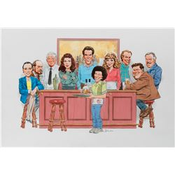 Angelo Torres original caricature artwork featuring the cast of Cheers.