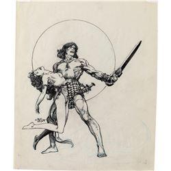 Barry Windsor-Smith original artwork 'Devil Wings over Shadizar'.