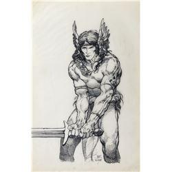 Barry Windsor-Smith original preliminary artwork for Conan Saga #7.