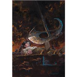 Bernie Wrightson original painting 'The Pit & the Pendulum' for The Edgar Allan Poe Portfolio.