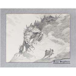 Bernie Wrightson original knight and dragon artwork.