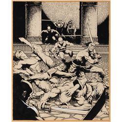 Mike Zeck original inside front cover artwork for Deadly Hands of Kung Fu Magazine #24.