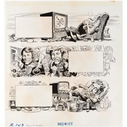 Jack Davis original artwork for MAD Magazine #155 3-page feature 'Howard at the Mic'.