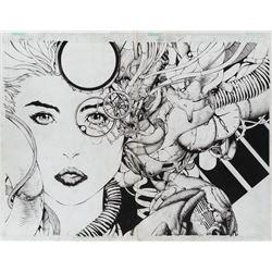 David Finch original double page splash artwork for Aphrodite IX #3.