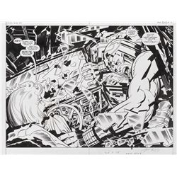 Jack Kirby and Mike Royer original double page splash artwork for Silver Star #3 Page 2 and 3.