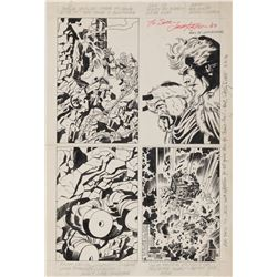 Jack Kirby and Rich Buckler original unpublished artwork featuring 'The Warriors Three' from 'Thor'.