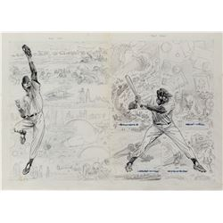 Joe Kubert original concept cover artwork for a baseball-themed comic.