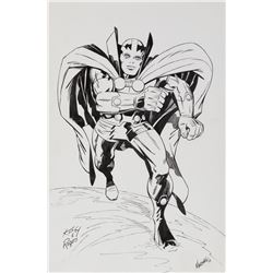 Marshall Rogers original lightbox artwork of a 'Mr. Miracle' drawing by Jack Kirby.