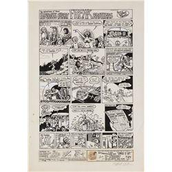 Gilbert Shelton original artwork for The Fabulous Furry Freak Brothers page.