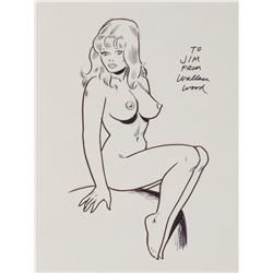 Wally Wood signed original drawing, portfolios, and ephemera.