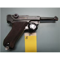 B... PROHIBITED... Luger P08 1937 Mauser S/ 42 semi automatic 9 mm barrel length 98 mm serial number