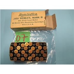 collector box of Remington .455 Webley mark II ammunition