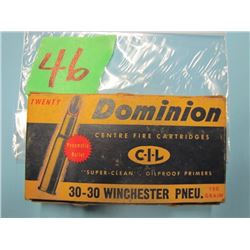 box Dominion 3030 Winchester ammunition