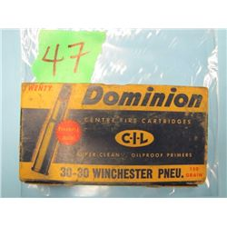box Dominion 30/30 Winchester ammunition
