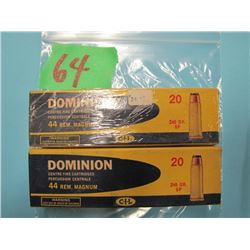 lot of two boxes Dominion 44 REM Magnum ammunition