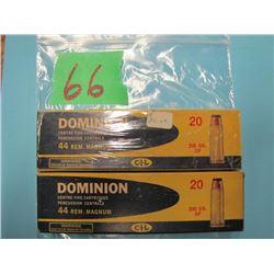 lot of two boxes Dominion 44 REM Magnum ammunition