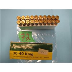 box 30 - 40 krag ammunition 11 live 9 brass