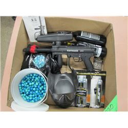 Tippmann A5 paintball gun with approximately 1000 paintballs mask and CO2 cylinders