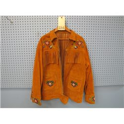 leather jacket beaded and fringed size around a medium possibly large