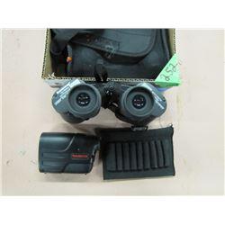 lot with Tasco 10 x 50 binoculars Tasco 600 rangefinder and sidekick bullet sleeve