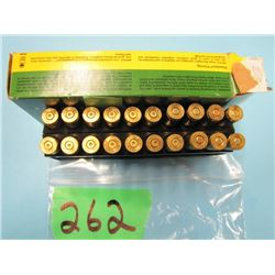 box with 7 live and 13 brass 250 Savage ammo