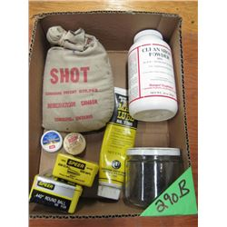 box with shot, FFG powder, primers, bullets Etc no shipping