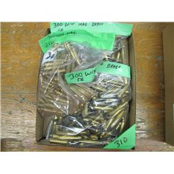 box of assorted 300 Win Mag brass