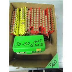 box of 3030 reload ammo noted as not good has issues