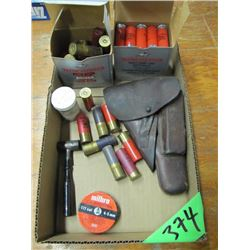 box with 12 gauge ammo, holster, pellets Etc