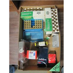 box of 45 brows and assorted reloading supplies