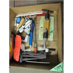 box with reamer and assorted tools