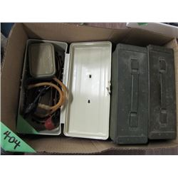 box with two metal ammo containers slingshot Etc