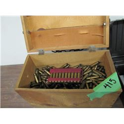 wood crate with brass miscellaneous 308 and 308 Norma Magnum and others