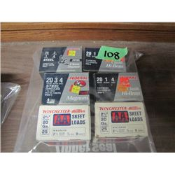 lot of six boxes 20 gauge ammo