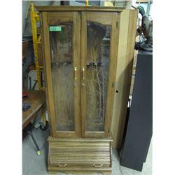 wooden gun cabinet two keys