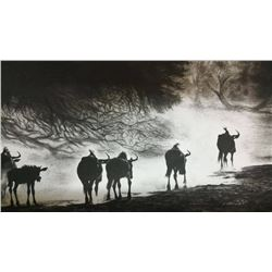 "Gisela Marnewecke Painting ""Wildebeest at Sunset"""