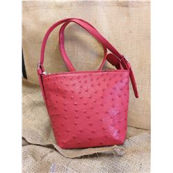 Red Ostrich Leather Handbag