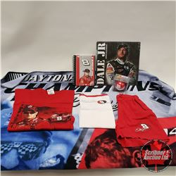 Tray Lot: Dale Earnhardt Jr. Notebook, Blanket, 2010 Calendar, Kids Clothes, Christmas Ornament