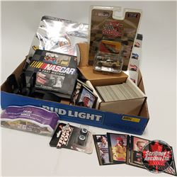 Tray Lot: Nascar Collectibles including (Book, 1/64 Diecast Car, Collector Cards, Calendar, T-Shirt,