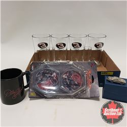 Tray Lot: Dale Earnhardt Collectibles including (Tumblers, Coasters, Coffee Mug & Key Chain)