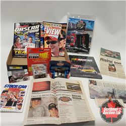 Tray Lot - Nascar Collectibles (Magazines, Newspapers, Diecast Stock Cars)